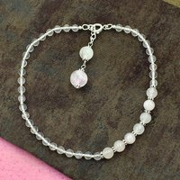 Mz At-20063 Natural Rose Quartz Gemstone Anklet 925 Sterling Silver Beaded Anklet For Women & Girls