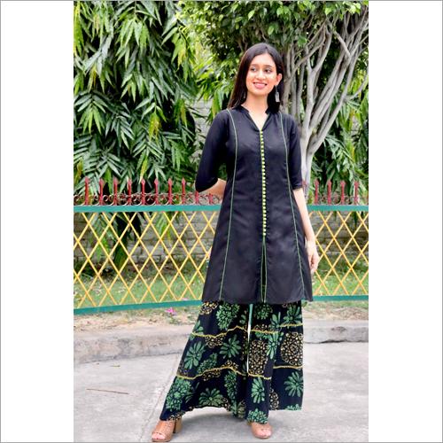 Ladies Black Green Yellow Color Ethnic Suit