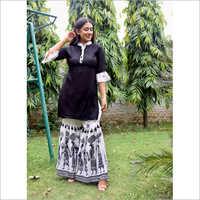 Ladies Black And White Colo Ethnic Suit