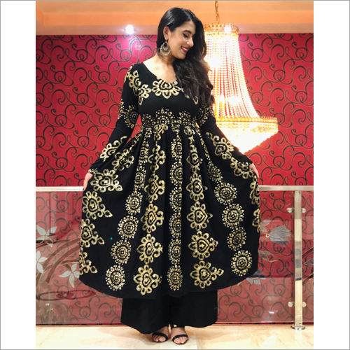 Ladies Black Cream Ethnic Suit