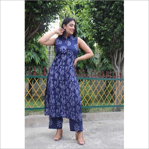 Ladies Designer Navy Grey Ethnic Suit