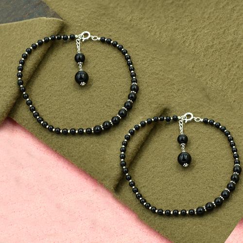 MZ AT-20064 Natural Black Onyx Gemstone Anklet 925 Sterling Silver Beaded Anklet For Women & Girls
