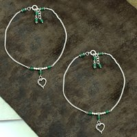 MZ AT-20100 Natural Green Onyx Gemstone & Heart Shape Charm Anklet 925 Sterling Silver Beaded Anklet For Women & Girls