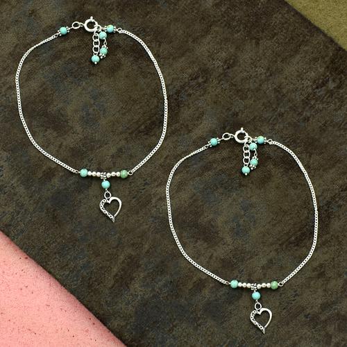 MZ AT-20098 Turquoise Gemstone & Heart Shape Charm Anklet 925 Sterling Silver Beaded Anklet For Women & Girls