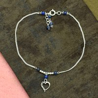 MZ AT-20097 Natural Lapis Lazuli Gemstone & Heart Shape Charm Anklet 925 Sterling Silver Beaded Anklet For Women & Girls
