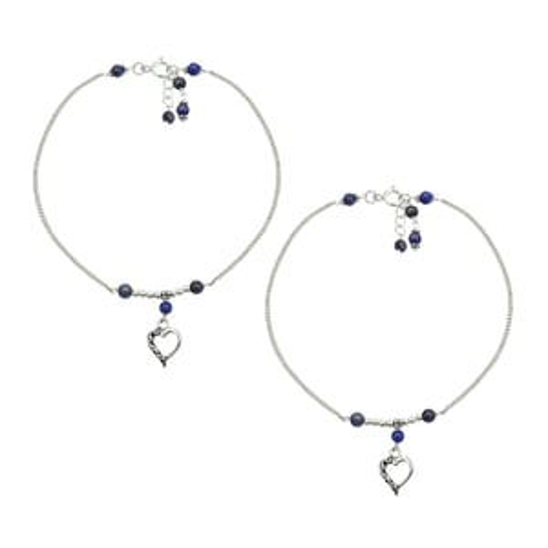 MZ AT-20096 Lapis Lazuli Gemstone & Heart Shape Charm Anklet 925 Sterling Silver Beaded Anklet For Women & Girls