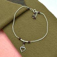 MZ AT-20095 Natural Garnet Gemstone & Heart Shape Charm Anklet 925 Sterling Silver Beaded Anklet For Women & Girls