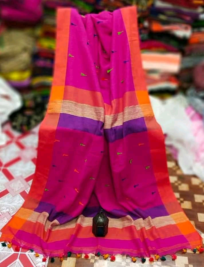 Pompom Cotton Saree