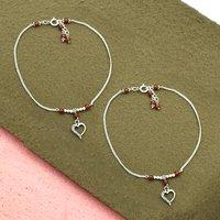 MZ AT-20090 Natural Carnelian Gemstone & Heart Shape Charm Anklet 925 Sterling Silver Beaded Anklet For Women & Girls