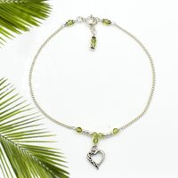 MZ AT-20089 Natural Peridot Gemstone & Heart Shape Charm Anklet 925 Sterling Silver Beaded Anklet For Women & Girls