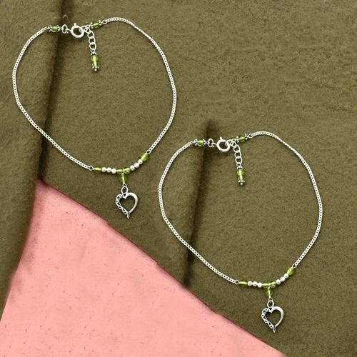 Natural Peridot Gemstone & Heart Shape Charm Anklet 925 Sterling Silver Beaded Anklet For Women & Girls