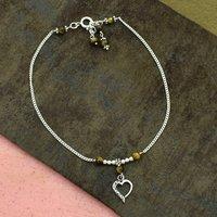 MZ AT-20087 Natural Tiger Eye Gemstone & Heart Shape Charm Anklet 925 Sterling Silver Beaded Anklet For Women & Girls