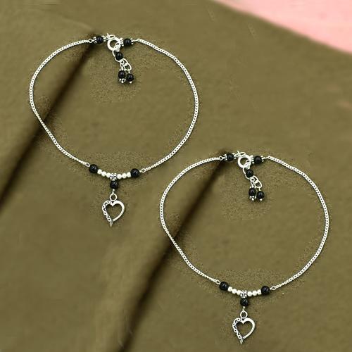 MZ AT-20084 Black Onyx Gemstone & Heart Shape Charm Anklet 925 Sterling Silver Beaded Anklet For Women & Girls