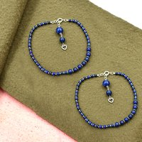 MZ AT-20082 Lapis Lazuli Gemstone Anklet 925 Sterling Silver Beaded Anklet For Women & Girls