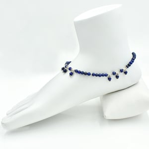 MZ AT-20081 lapis lazuli beaded gemstone anklet 925 sterling silver chain handmade anklet jewelry
