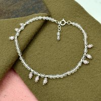 MZ AT-20079 Natural Rose Quartz Gemstone Anklet 925 Sterling Silver Beaded Anklet For Women & Girls
