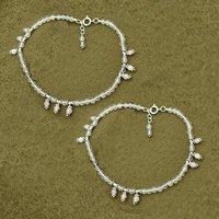 MZ AT-20078 Natural Rose Quartz Gemstone Anklet 925 Sterling Silver Beaded Anklet For Women & Girls