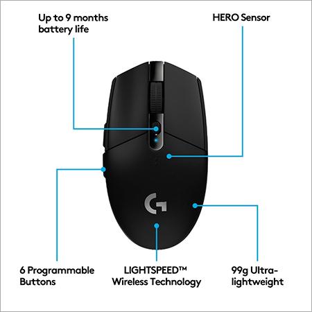 Logitech G 304 Lightspeed Wireless Gaming Mouse, Hero Sensor, 12,000 DPI, Lightweight, 6 Programmable Buttons - Black 2