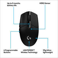 Logitech G 304 Lightspeed Wireless Gaming Mouse, Hero Sensor, 12,000 DPI, Lightweight, 6 Programmable Buttons - Black 2