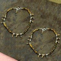 Natural Tiger Eye Gemstone Anklet 925 Sterling Silver Beaded Anklet For Women & Girls