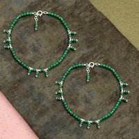 MZ AT-20074 Natural Green Onyx Gemstone Anklet 925 Sterling Silver Beaded Anklet For Women & Girls