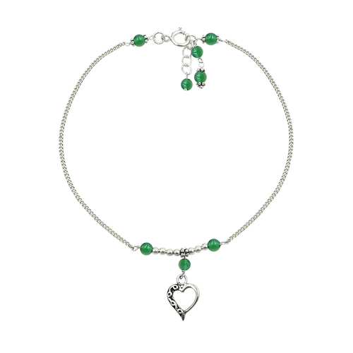MZ AT-20101 Natural Green Onyx Round Gemstone Beaded Anklet 925 Sterling Silver chain Anklet For Girls