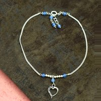 MZ AT-20103 Blue Chalcedony Gemstone handmade Beaded Anklet 925 Sterling Silver Anklet For Women