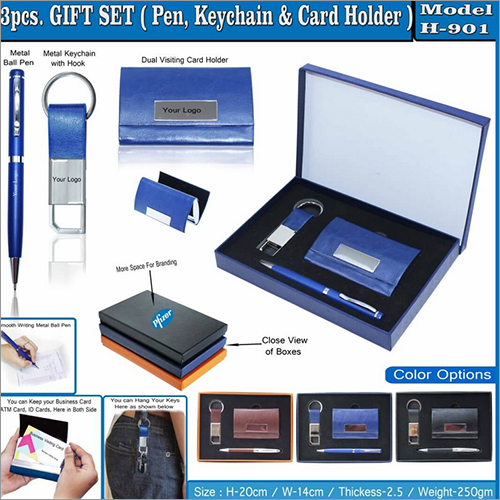 3 in 1 Gift Set - Ball Pen - Key Chain and Card Holder