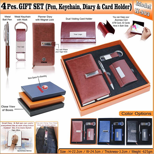 4 in 1 Gift Set - Ball Pen - Key Chain - Diary and Card Holder