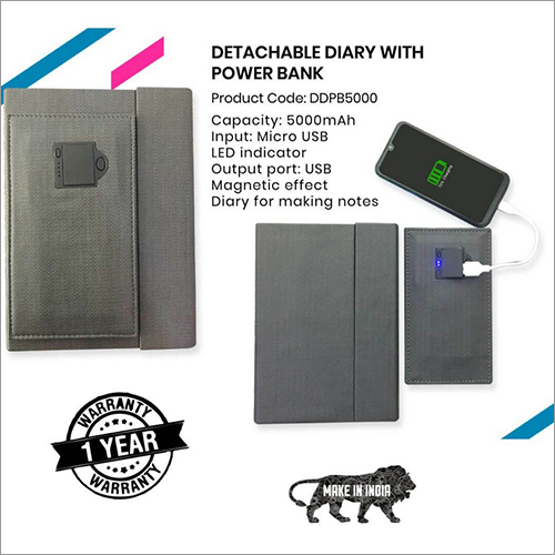5000mAh Detachable Diary with Power Bank