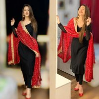 Reyon Kurti With Leggings With Bandhej Dupatta