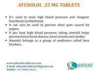 ATENOLOL 25 MG TABLETS