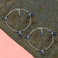 MZ AT-20108 Natural Blue Lapis Lazuli Round Gemstone Anklet 925 Sterling Silver Handmade Beaded Anklet