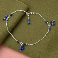 MZ AT-20109 Blue Lapis Lazuli Round Gemstone Beaded Anklet 925 sterling Silver Handmade Jewelry For Women