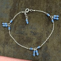 MZ AT-20113 Blue chalcedony Round Gemstone Anklet Silver chain Beaded Anklet For women