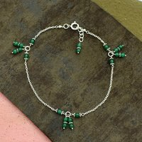 MZ AT-20115 green onyx round gemstone beaded anklet 925 Sterling Silver Handmade Gemstone Jewelry For Women