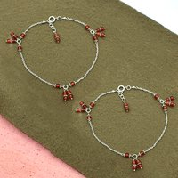 MZ AT-20116 natural carnelian gemstone anklet 925 sterling silver handmade Beaded Anklet For Women