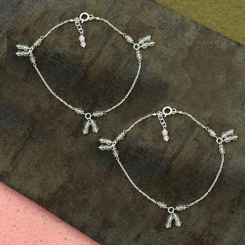 MZ AT-20118 Pink Rose Quartz Gemstone Anklet 925 Sterling Silver Handmade beaded Anklet