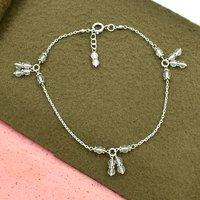 MZ AT-20119 Pink Rose Quartz Gemstone Anklet 925 Sterling Silver Handmade beaded Anklet