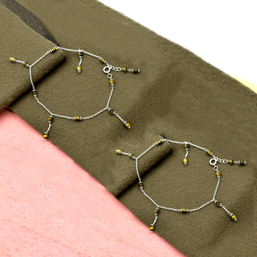 MZ AT-20120 Natural Tiger Eye Gemstone Anklet 925 Sterling Silver Beaded Anklet For Women & Girls