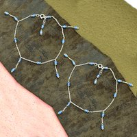 MZ AT-20122 blue chalcedony gemstone anklet 925 sterling silver handmade beaded silver anklet