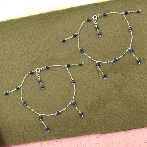 MZ AT-20142 lapis lazuli gemstone anklet 925 sterling silver handmade beaded anklet for women