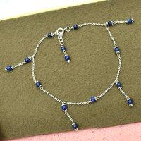MZ AT-20143 lapis lazuli gemstone anklet 925 sterling silver handmade beaded anklet for women