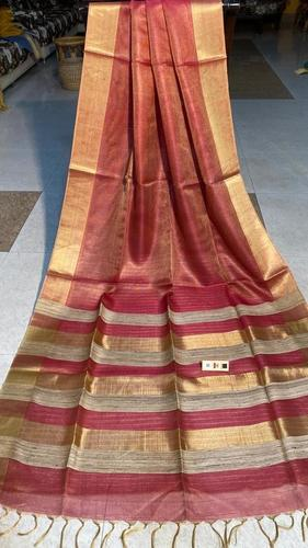 PURE TISSUE TUSSAR SILK PLAIN SAREE , RUNNING BLOUSE , SILK MARKED .
