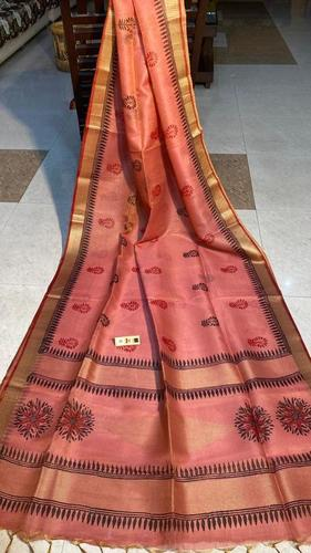 PURE TISSUE TUSSAR SILK HAND BLOCK PRINTED SAREE .