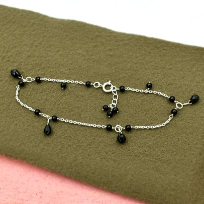 Mz At-20147 Natural Black Onyx Gemstone Anklet 925 Sterling Silver Handmade Silver Beaded Jewelry Gender: Unisex