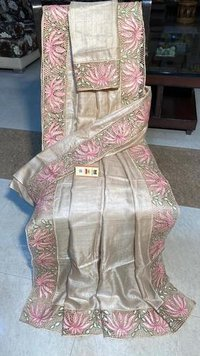 PARTY WEAR PURE DESI TUSSAR SILK CUT WORK SAREE ,WITH BLOUSE .