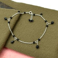 MZ AT-20148 natural purple amethyst gemstone anklet 925 sterling silver handmade gemstone jewelry