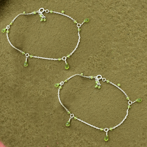MZ AT-20152 natural green peridot gemstone beaded anklet 925 sterling silver handmade jewelry for women