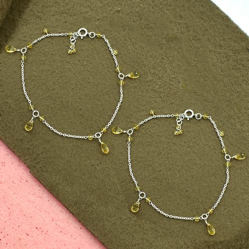 MZ AT-20156 yellow citrine gemstone anklet 925 sterling silver handmade beaded gemstone anklet
